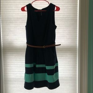 Navy and Teal tank top dress WITH FREE BELT